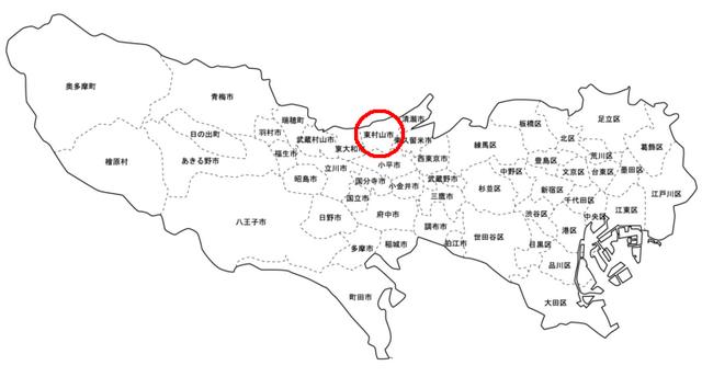 東京都の白地図